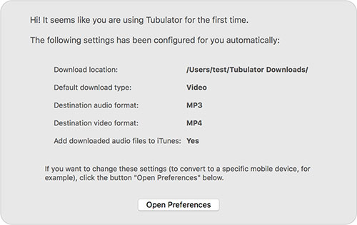 Tubulator first launch default settings