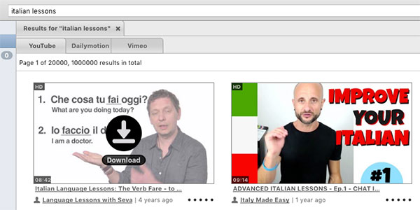 Download icon for italian lessons on YouTube