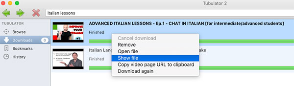 Show downloaded file for italian lessons on YouTube