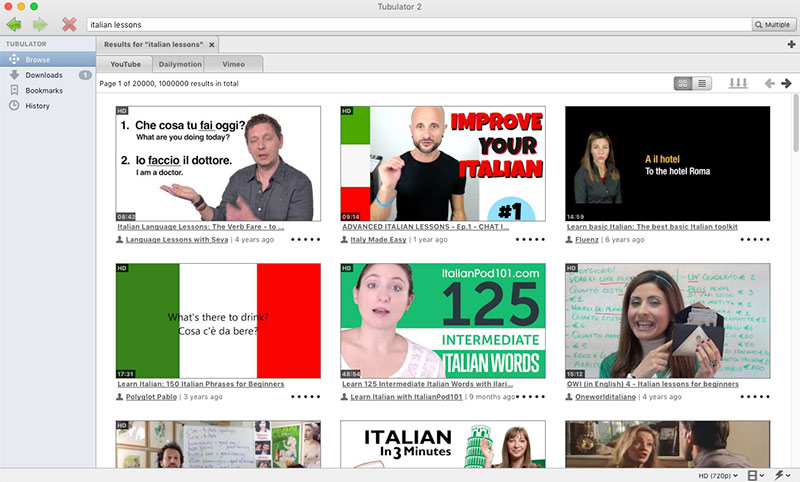 Search results for italian lessons on YouTube